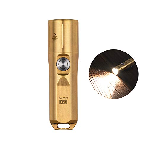 RovyVon Aurora A29 Brass EDC Flashlight, 700 Lumens, Nichia 219C High CRI Flashlight, Rechargeable Keychain Light with Moonlight/Memory Mode,IP68 Water Resistent (Brass)