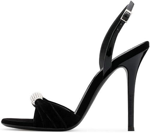 GHFJDO Femmes d'été Strass Cheville Strap Block Sandals, Sandals, Sandals, Daim Bout Ouvert Chaussures Les Les dames Stiletto Heel Pumps,noir,38EU ab4