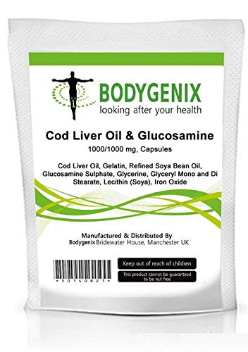 ## Free DELIVERY ## Pack of'COD Liver Oil & GLUCOSAMINE' 1000mg Capsules (Made in UK) [Several Sizes Available] (60)