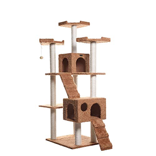 Armarkat Large 74' Cat Tree for Family with Couple Cats, Brown (A7407)