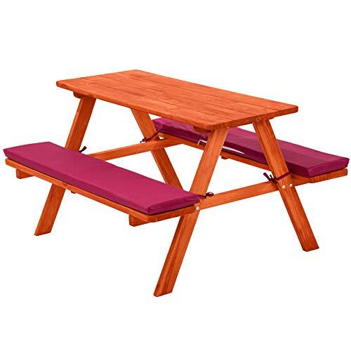 TecTake 800807 Table de Pique-Nique en Bois Enfants Bancs avec Coussins Meubles de Jardin Mobilier de Camping Extérieur – Diverses Couleurs (Rouge)