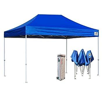 Eurmax 10x15 Ft Premium Ez Pop up Canopy Instant Canopies Shelter Outdoor Party Gazebo Commercial Grade Bonus Roller Bag  Blue