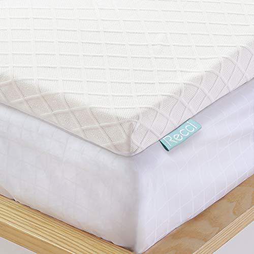 RECCI Topper Memory Foam 6 cm, Topper Materasso per Alleviare Pressione, Coprimaterasso con Rivestimento Ipoallergenico in Bamboo CertiPUR-EU (140x190x6cm)