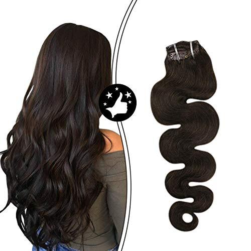 Moresoo Extensions Echthaar Clip in Hair Extensions Gewellt 24 zoll 7Pcs Pro Paket Clip in Human Hair Extensions Dunkelstes Braun Body Wave 100g