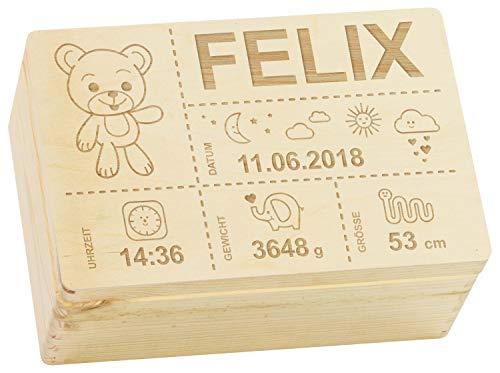 LAUBLUST Erinnerungsbox Baby Personalisiert - Teddybär - Geschenk zur Geburt | M - ca. 30x20x14cm, Holzkiste Natur FSC®