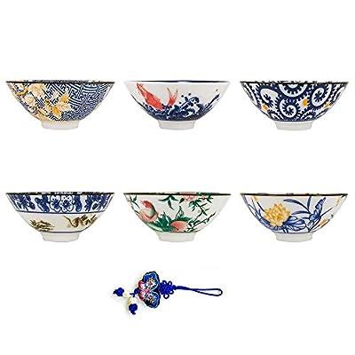 ZHAMS Kungfu Teacup,Japanese Long-Quan Celadon Teacup,Set of 6 (A)