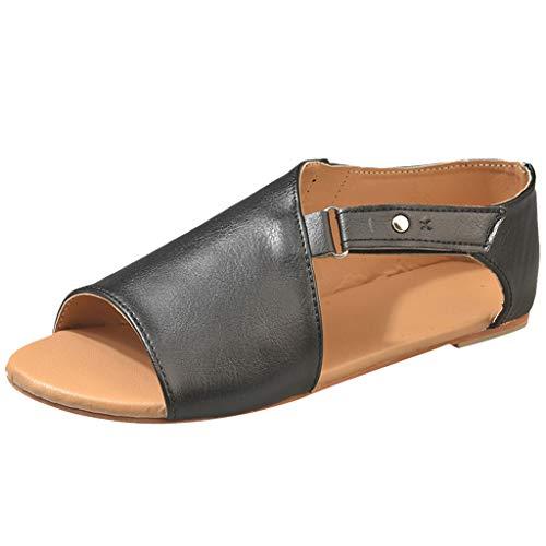 iYmitz Damen Mode Sommer Römersandalen Flach Sandalen Frauen Bohemian Sandals Sommerschuhe PU Strand Schuhe Zehentrenner(Schwarz,EU-41)