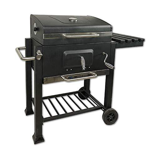 LGPNB Holzkohlegrills, großer Premium-Grill, Holzkohle-Raucher, Terrassengrill im Freien, höhenverstellbarer Kochgrill und wärmebeständiges, wärmebeständiges Regal aus schwarzem Stahl, Beistelltisch