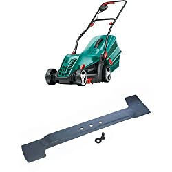 1300 W Powerdrive motor ensures a reliable cut in long or wet grass 34 cm cutting diameter ideal for small to medium lawns up to one tennis court Double folding handles and stackable grassbox for compact storage Unique grass combs cut right up to and...
