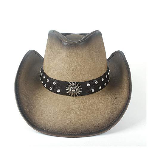 RedAlphabet Chapeau de Cowboy Occidental for Femme avec Casquette Sombrero Jazz en Soie Soyeuse en Cuir Taille: 58-59cm (Color : Tan, Size : 58-59)