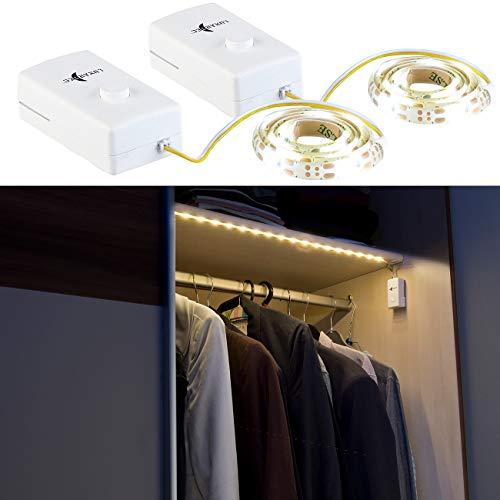 Lunartec LED Streifen Batterie: 2er-Set Indoor-LED-Streifen, 18 LEDs, Schalter, Batteriebetrieb, 60 cm (Schrankleuchten)