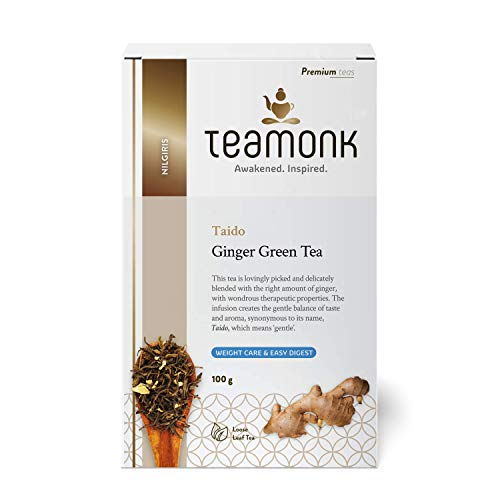 Teamonk Nilgiri Ginger Green Tea for Weight Loss,(50 Cups) | 100% Natural Loose Leaf Tea with Natural Ginger | Taido Green Tea for Easy Digest | Whole Leaf Tea | No Additives, 100 g