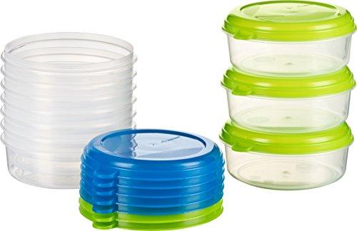 Kigima Frischhaltedose Gefrierbehälter 10x 0,125l rund blau und grün