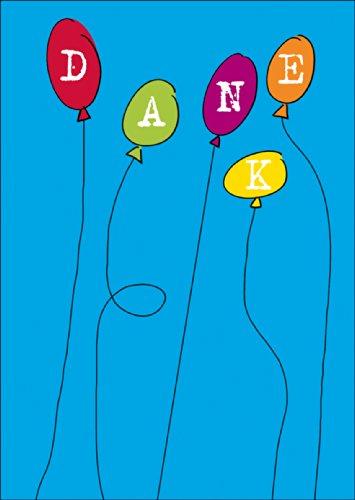 Fröhliche Dankeskarte. Verschicken Sie einen bunten Strauß an Dankes Luftballons. • auch zum direkt Versenden mit ihrem persönlichen Text als Einleger. • hübsche Premium Grusskarte mit Umschlag um Danke zu sagen