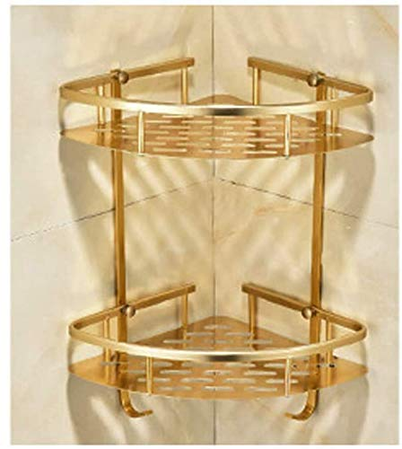 XHCP 2 Tier Bathroom Corner Shelf Shower Rack Caddy Shelves Organiser Wall Triangular Holder Storage for Kitchen,Gold