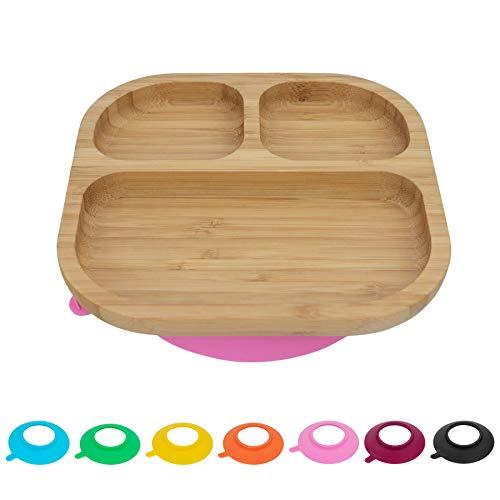 Tiny Dining Bandeja Infantil con Compartimentos para la Comida - con Ventosa para Que no se mueva de su Sitio - Bambú - Rosa