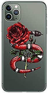 iPhone 11 Pro Max (6.5 inch) Case,Blingy's Cool Floral Snake Design Transparent Clear Soft TPU Protective Case Compatible for iPhone 11 Pro Max 6.5