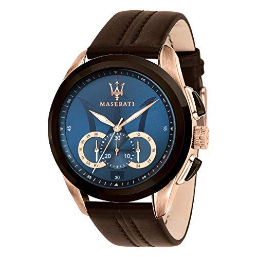 Maserati D2UMAR8871612024 Orologio da polso da uomo, cronografo in pelle marrone Un regalo per Natale, compleanno, San Valentino per l'uomo