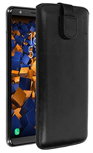 mumbi Echt Ledertasche kompatibel mit Samsung Galaxy A7 2018 Hülle Leder Tasche Hülle Wallet, schwarz