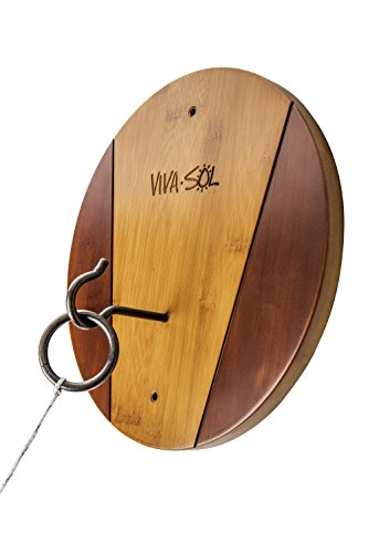Viva Sol Premium Bamboo Walnut Finish Hook and Ring Target Game for Use Indoors and Outdoors