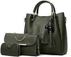 Envias Women's Handbag & Sling Bag (Set of 3, Green)
