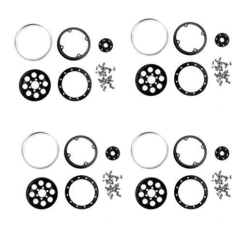 RC Car Hub RC Wheel Hub 4Pcs Aumenta la Estabilidad con un Estilo 1:10 RC Car(Black Wheels + Silver Outer Ring C)