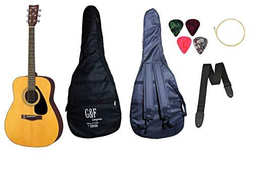 yamaha acoustic guitar F310, 6-Strings Acoustic Guitar, Natural with Sponge Bag, Belt, Plectrums, Combo Pack