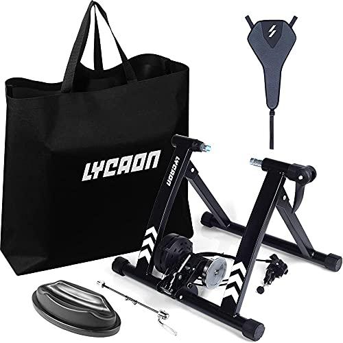 LYCAON Rodillo Entrenamiento Bicicleta de Interior, con Control de Cable de 6 velocidades, Adecuado para 26 -29  Bicicletas, Bicicletas de Carreras   Bicicletas de montaña