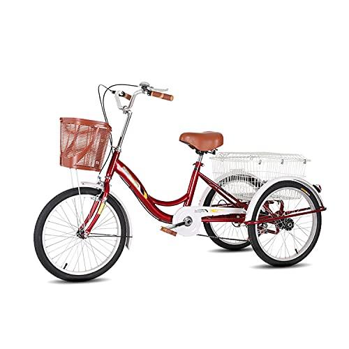 Triciclo para adultos bicicleta Triciclo Adulto Comfort Bicicletas 20 Pulgadas De Tres Ruedas Bicicleta De Crucero Con Cesta De Compras Para Recreación, Compras, Picnics Ejercicio Para Hom(Color:rojo)