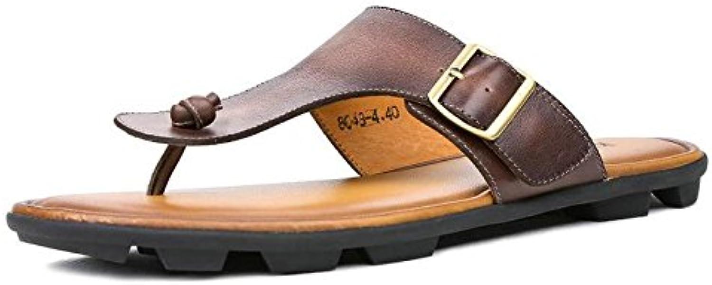 Cowhide Flip Flops herr Genuine läder Sandals ljus strand Slipper Slipper Slipper Man sommar skor bspringaaa Wine röd Sandals män skor Hombre Cricket skor  billig