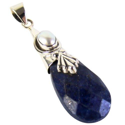 Unique exklusiver Jugendstil Ketten Anhänger Lapis Lazuli Perle Tropfen eingefasst in 925 Sterling Silber 15.6 Karat in Juweliers- Qualität