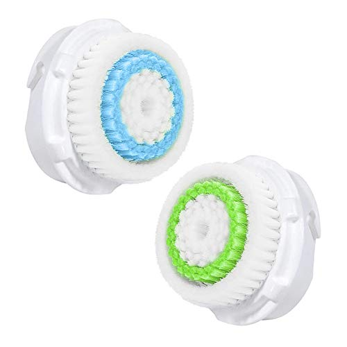 Facial Cleansing Brush Head Replacement Compatible For Deep Pore Acne Cleaning Brush Clogged and Enlarged Pores (2 Pack, blue1+green1)
