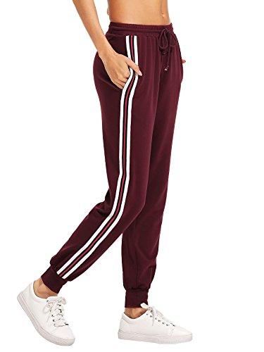 SweatyRocks Women's Drawstring Waist Striped Side Jogger Sweatpants with Pockets Burgundy L