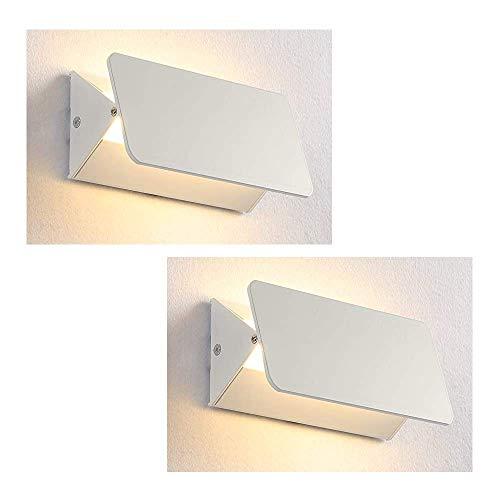 XIAJIA-2 Pcs 5W Aplique Pared Interior,Lámpara de lectura led,Dormitorio Lámpara de pared Interior,Moderna...