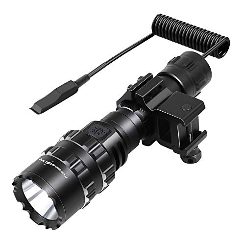 FUNANASUN Tactical Flashlights 1600 Lumens M-lok Picatinny Rail Mount LED Weapon Light, Waterproof Flashlight with Micro-USB Rechargeable Batteries, Remote Pressure Switch