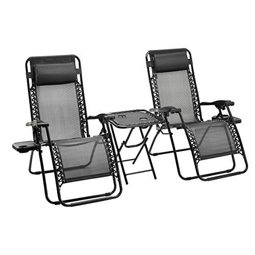 AmazonBasics - Sedie a sdraio Zero Gravity con tavolino, set da 2, nero