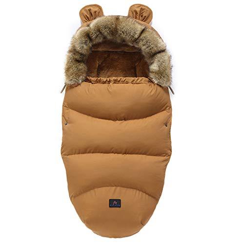Fußsäcke für Kinderwagen Universal Winter Warm Wasserdicht Winddicht Waschbar Baby Schlafsäcke für Kinderwagen, Autositz, Sportwagen, Buggy, Babyschale (Braun)