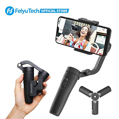 FeiyuTech VlogPocket Handy Gimbal Stabilisator für Smartphone,Keine Balance nötig 3-Achsen Foldable Phone Handheld Stabilizer für iPhone 6/7/8 Plus/X/XS/XR,Samsung S9/8/7 Edge,Huawei und höher