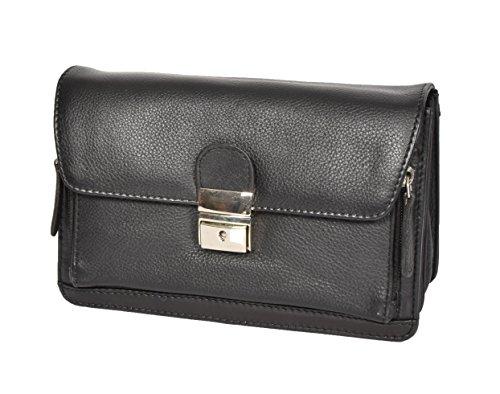 House of Luggage Hommes Cuir Poignet Sac Embrayage Grab Mobile Voyage Verrouillable Pochette HLG845 Noir