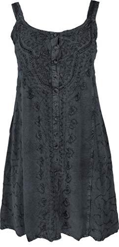GURU SHOP Besticktes Indisches Minikleid Chic, Hippie Tunika, Damen, Schwarz/Design 10, Synthetisch, Size:40, Kurze Kleider Alternative Bekleidung