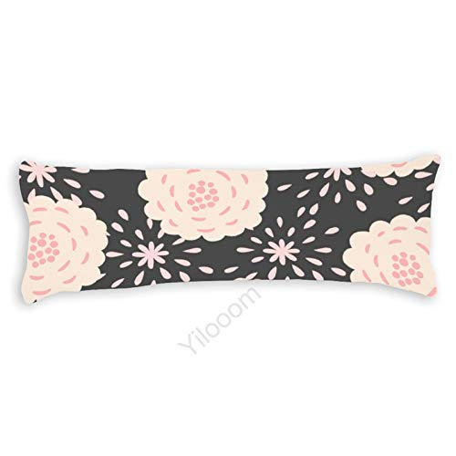 Funda de almohada para el cuerpo, funda de almohada protectora de almohada con cierre de cremallera para decoración del hogar, 50 x 132 cm, flores silvestres beige