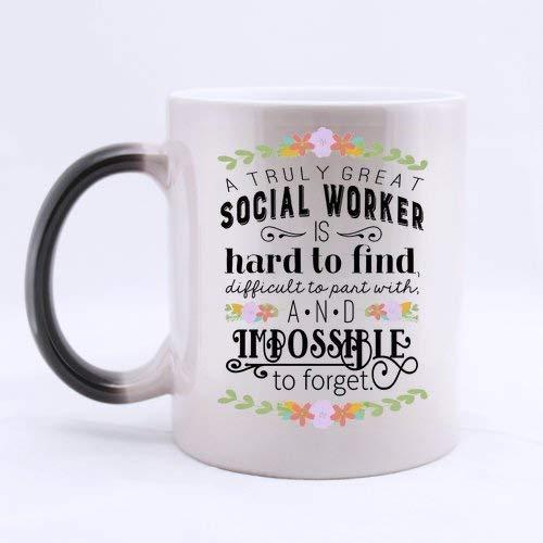 Social Worker Coffee Mugs Heat Sensitive Morph Mug Ceramic Material Color Change Morning Mug 11 Ounces