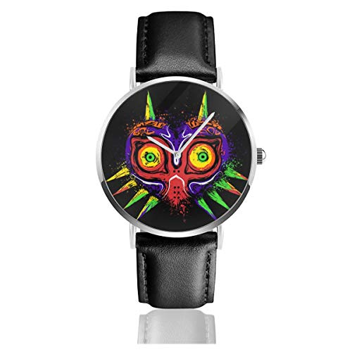 Unisex Business Casual The Legend of Zelda The Ancient Evil Majoras Mask Watches Quartz Leather Watch with Black Leather Band for Men Women Young Collection Gift