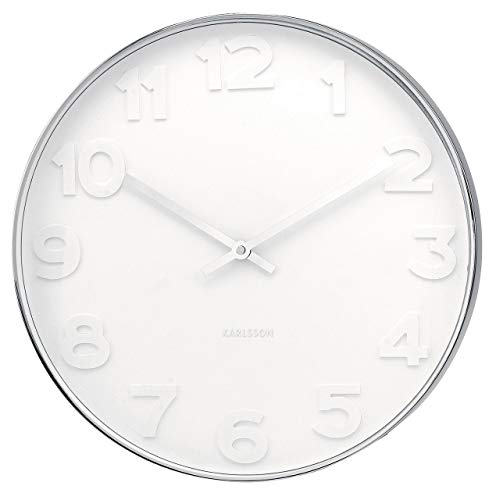 Present Time Karlsson Wall Clock Mr. White Numbers Steel...