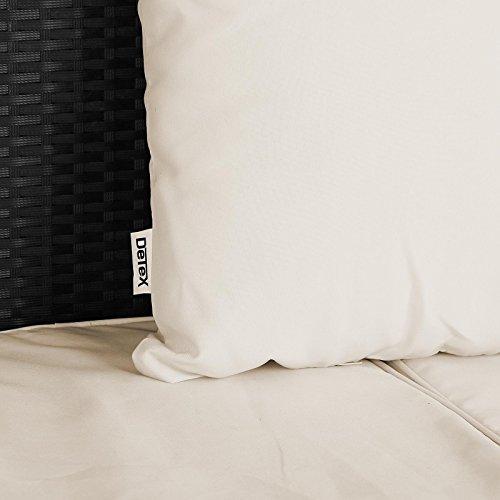 Poly Rattan Sonneninsel 230cm oval schwarz mit faltbarem Sonnendach inkl. 7cm dicke Auflagen + 3 bequeme Kissen – abnehmbare, waschbare Bezüge – Sonnenliege Gartenliege Liegeinsel Lounge Liege Gartenmöbel - 6
