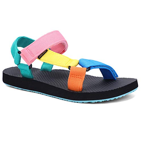 ALEADER Comfortable Summer Sandals for Women, Original Sport Sandals for Water, Beach, Walking Shoes, Rainbow, 9 US