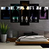 WARMBERL Canvas Paintings Toile Affiche Murale Art Hd Imprime 5 Peintures Blanchies Anime Qui...