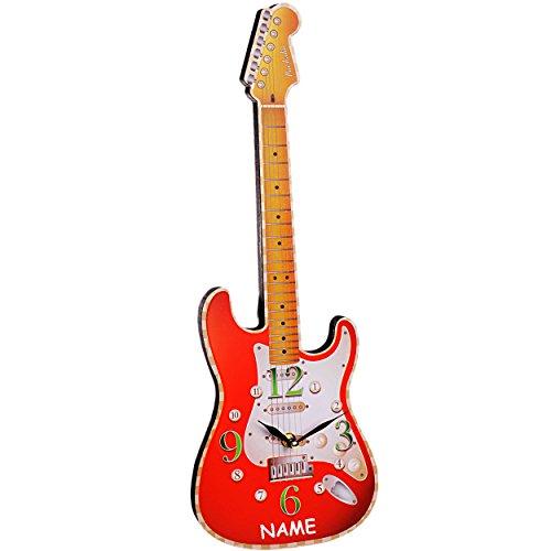 alles-meine.de GmbH Wanduhr aus Holz -  Gitarre / E-Gitarre - ROT  - inkl. Name - 50 cm groß - schleichendes Uhrwerk ! - sehr leise ! - Uhr - Analog - Wohnzimmer & Kinderzimmer..