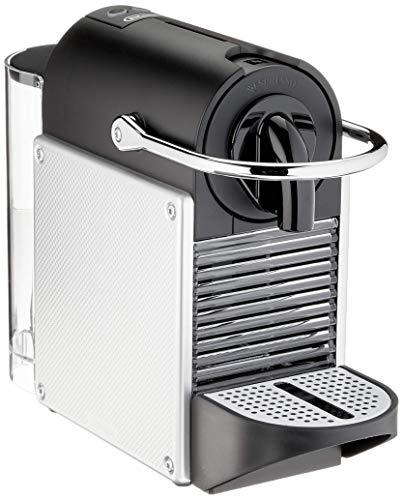 Nespresso De'Longhi Pixie EN124.S Cafetera monodosis cápsulas, 19 Bares, depósito Agua 0.7 L, Apagado automático, Plata, Incluye pack de bienvenida con 14 cápsulas