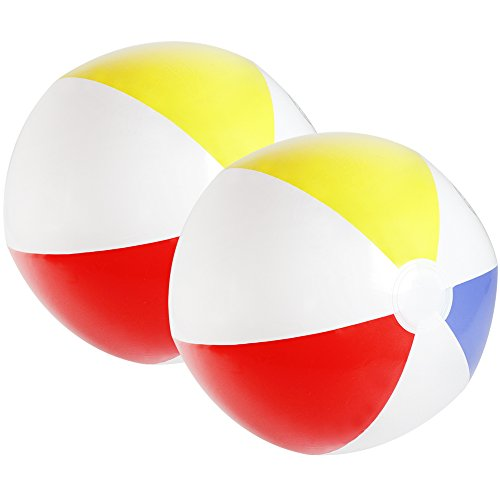 com-four® Pallone Gonfiabile 2X - Pallone da Spiaggia Idrorepellente - Pallone da Spiaggia per Spiaggia, Piscina e Lago balneabile - Giochi da Bagno - Ø 32 cm (02 Pezzi)
